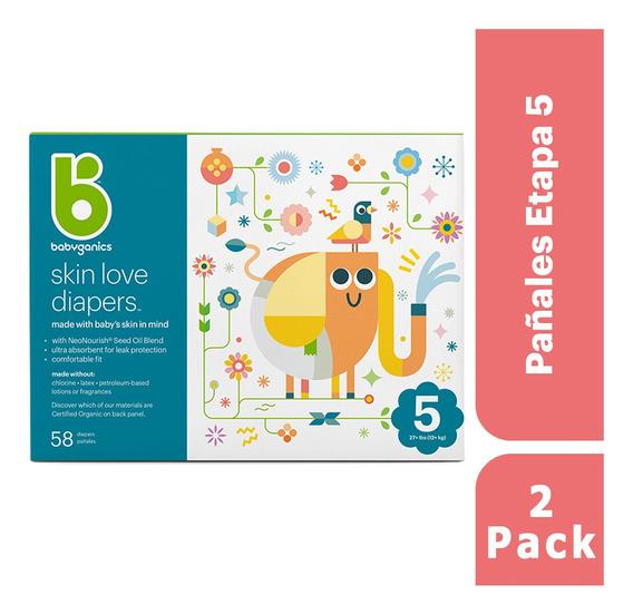 2 Pack: Babyganics Pañales Etapa 5, 58 Unidades C/u
