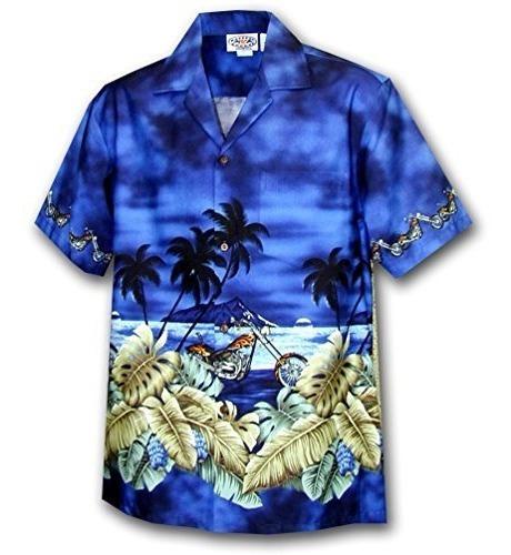 Camisa Hawaiana Para Ninos - Azul Marino Con Borde Al Atarde