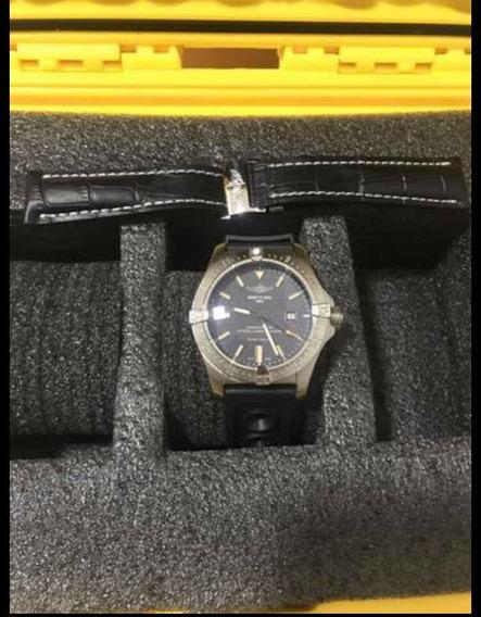 Relógio Breitling Pulseira De Borracha + Pulseira De Couro