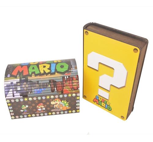 Imagem 1 de 8 de Baú Super Mário + Caixa Livro- Mdf -promoção - Oferta Geek