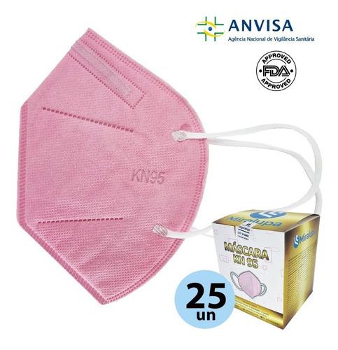 Imagem 1 de 5 de Mascara Kn95 N95 5 Camadas Proteção Rosa Kit 25un Anvisa