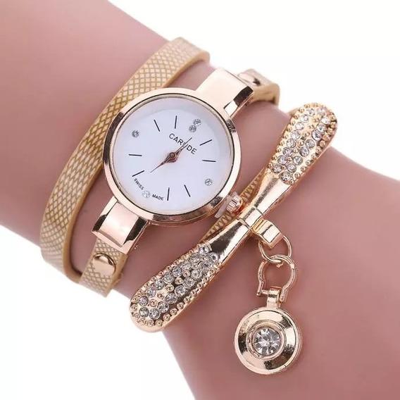Relógio Feminino Pulseira Bracelete Dourado Promoção.