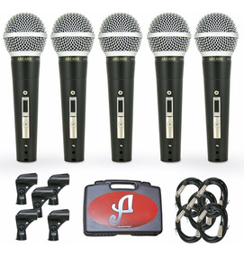5 Microfones Arcano Renius-8 Kit Cabos Xlr-xlr 4,5 Metros