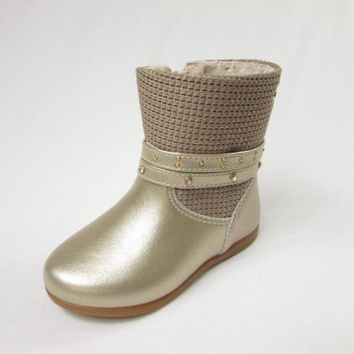 Bota Sapato Feminina Infantil Dourada Pampili