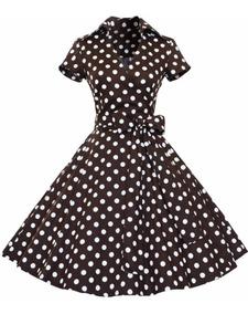 Vestido De Bolinha Anos 60 Festa Vintage Retrô Curto Pin07