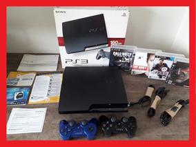 Playstation 3 Super Slim + 02 Controles Ps3 + Jogos + Bivolt