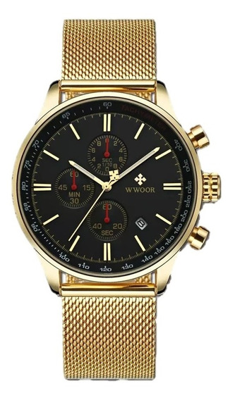 Relógio Masculino Social Luxo Wwoor Envio Imediato Promoção