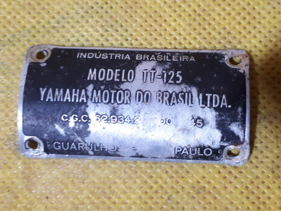 Plaqueta Plaquinha Demo Quadro Da Yamaha Tt 125 Antiga