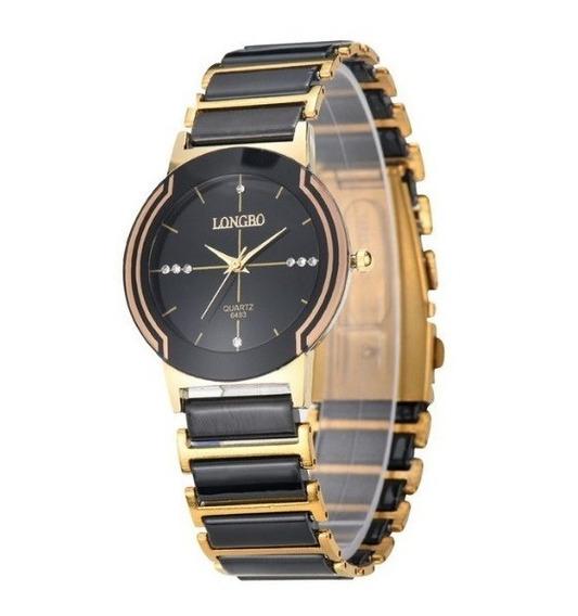 Relógio Feminino Longbo Preto Silver Gold Modelo 8493