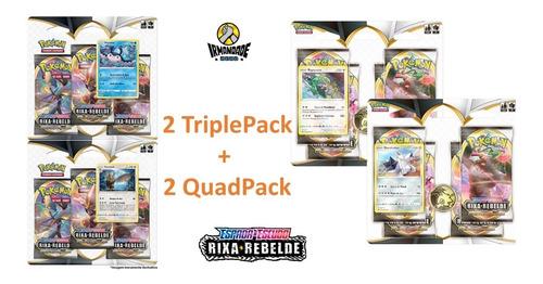 Blister Quádruplo + Triple Pack Rixa Rebelde - Pokémon Ee2