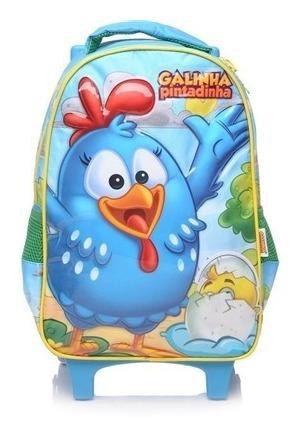 Mochila De Rodinhas Infantil Azul Galinha Pintadinha - Xeryu