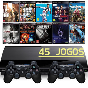 Ps3 Super Slim + 2 Controles + Fifa 19 + Gta5 + Call Of Duty