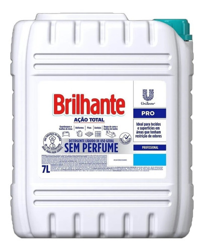 Detergente Líquido Sem Perfume Brilhante Ação Total Pro 7l