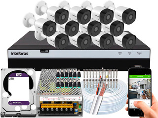 Kit Cftv 12 Câmeras 30m 1080p Intelbras Mhdx 3116 2tb Purple