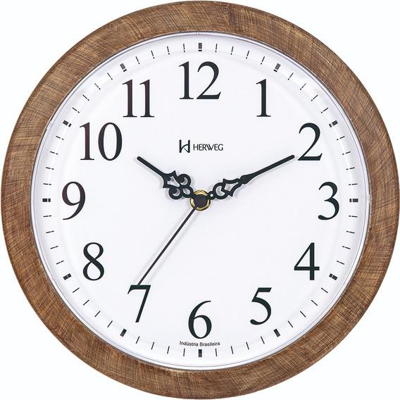 Relógio De Parede 26 Cm Herweg Cor Madeira 660073-323