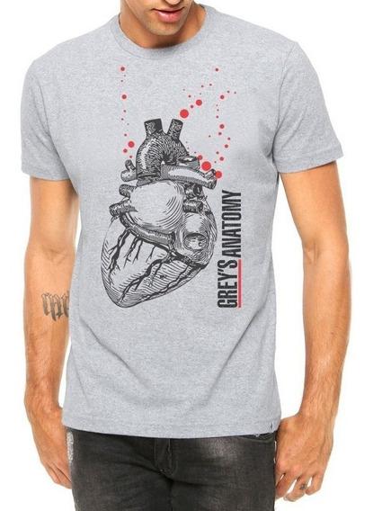 Camiseta Masculina Coração Realista Greys Anatomy