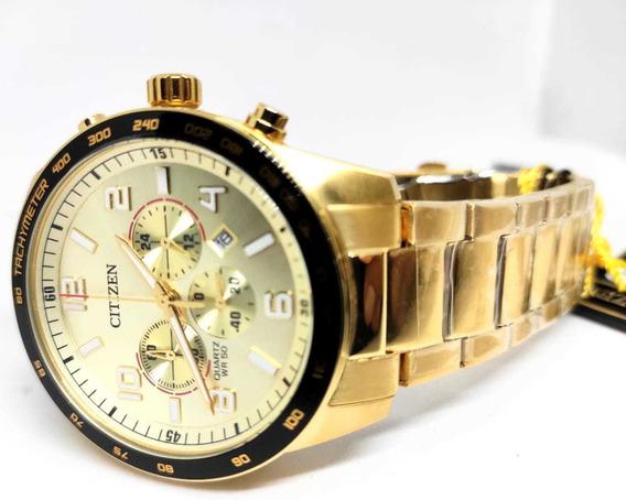 Relógio Citizen Dourado Todo Em Aço Tz31454g - Original