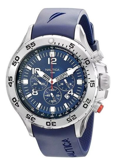 Relógio Ggt8547 Nautica Mens N14555g Original Prata C/ Caixa