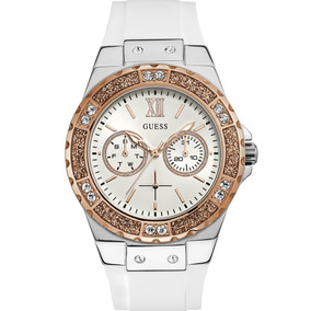 Relógio Guess Branco Rosê Strass Original Nota 92696lpgsgu1