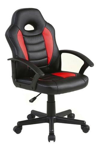 Imagen 1 de 3 de Silla de escritorio Top Living Spectrum gamer ergonómica  negra y roja con tapizado de cuero sintético y mesh
