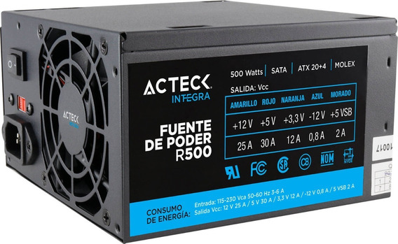 Fuente Poder 500w Acteck Blazar R500 20+4 Pin Atx Es-05001
