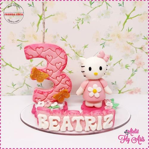 Imagem 1 de 1 de Topo De Bolo Personalizado Biscuit Aniversario Gatinha