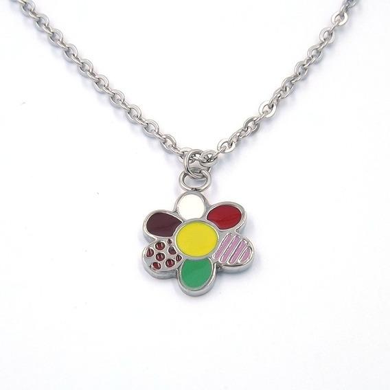 Collar De Acero Inoxidable Flor Colorida Eg