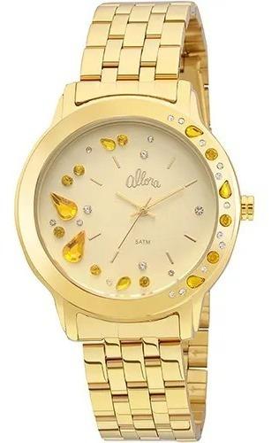 Relógio Allora Feminino Dourado Com Pedras Al2036fgl/4x