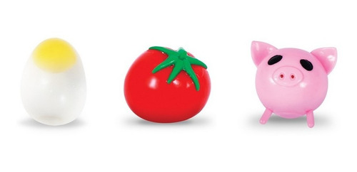 Kit Com 3 Splash Ball Ovo Tomate Porco Bola Grudenta - Full