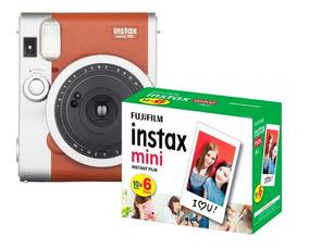 Câmera Instantânea Instax Fujifilm Mini 90 Marrom + Filme 60