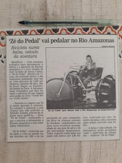 Recorte Jornal Matéria Mineiro Zé Do Pedal Balsa Bicicleta