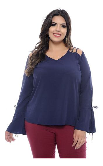Blusa Plus Size Marinho Lilly