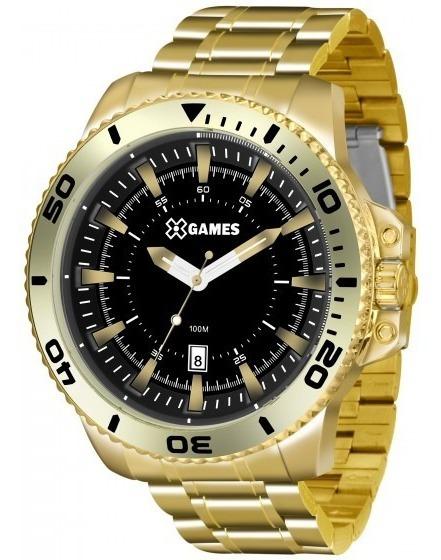 Relógio Xgames Xmgs1024 P2kx Masc Preto Dourado- Refinado