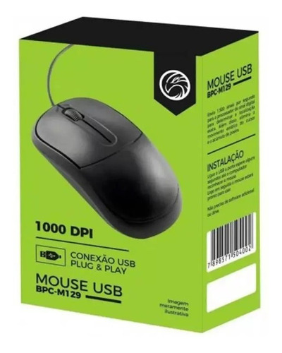 Mouse Brazil Pc Bpc-m-201 Usb Preto