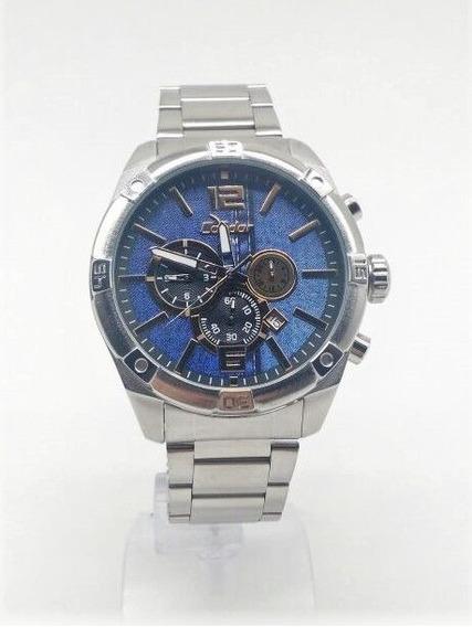 Relógio Condor Masculino Prata Azul Cronograf Covd33ag 3a