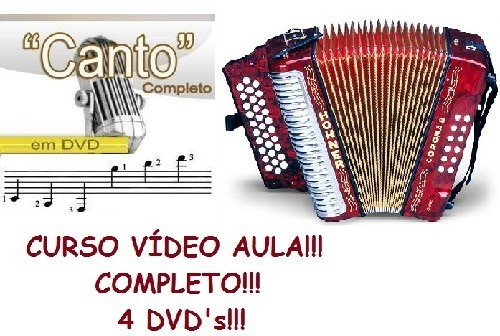 Aulas De Acordeon + Canto, Curso Completo! 4 Dvds T1do