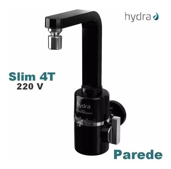 Torneira Elétrica De Cozinha 220v Preta Slim 4t Hydra Parede
