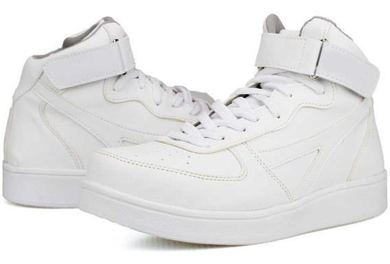 Tenis Masculino Coturno Bota Casual Branco E Preto