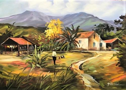 Imagem 1 de 5 de Obra/quadro Acrílico S/tela Painel Paisagem 50x70cm