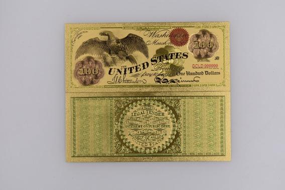 Robmar-usa Billete U$s100 En Plástico Bañado Oro 24 K.-1863