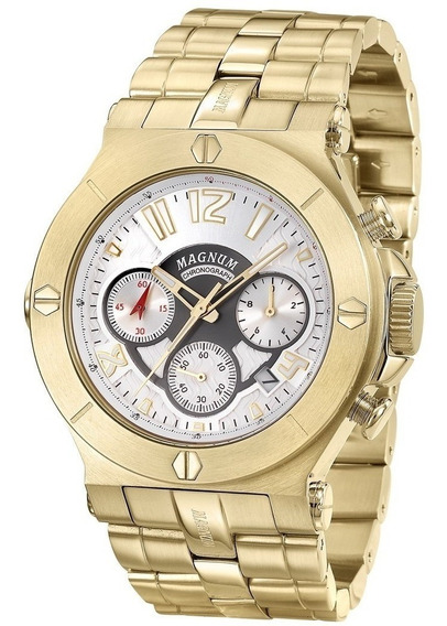 Relógio Masculino Magnum Pulseira Dourada Ma32247h