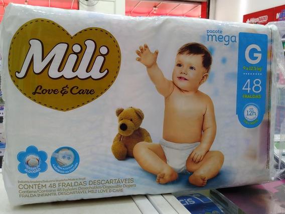 Fralda Mili Love Care Kit 3 Pacotes Mega Tam G - 48 Fraldas