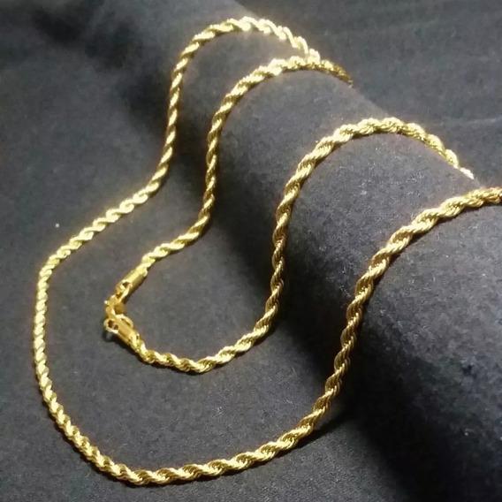 Corrente Cordão Trançado Masculino 55cm 2mm Banhado Ouro 18k