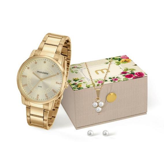 Relógio Mondaine Feminino Dourado Kit 34628