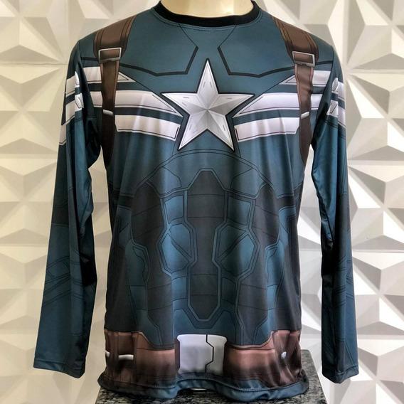 Camiseta Uniforme Capitão Ámerica 2 Manga Longa