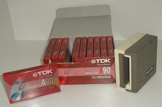 Fita Cassete Tdk A90 Pack Caixa Com 10 Fitas + Brinde Apaga