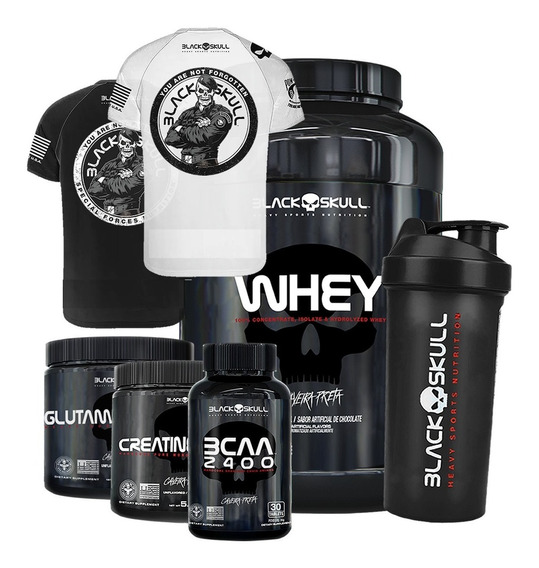 Whey 1kg + Creat + Glutamina + Bcaa + Camiseta - Black Skull