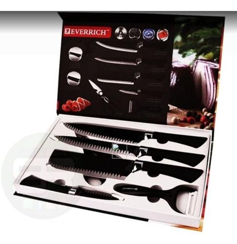 Imagen 1 de 3 de Set Juego Cocina Cuchillos Tijera Pelador 6 Pcs Profesional