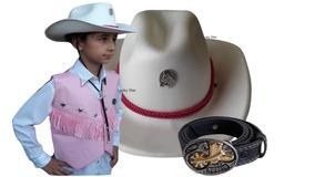 Colete Country Menina Camisa Chapéu E Acessório Cowboy Kit