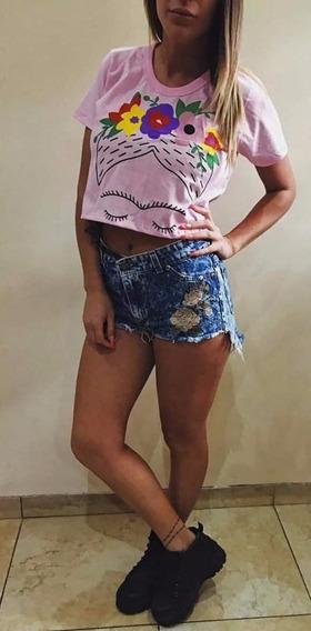 Pupera Frida Remera Corta Jersey Verano Mujer Top